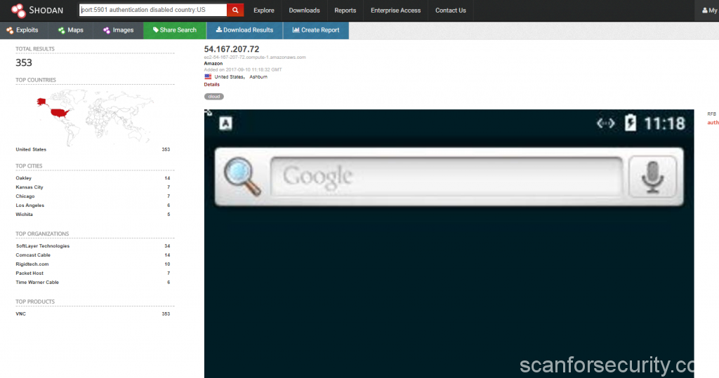 Search for VNC in USA with Shodan