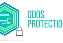 DDos Protection concept image with pentagon shield and lock illu
